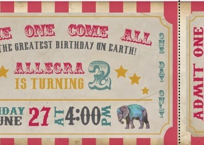 Pink Circus Birthday Party Invites