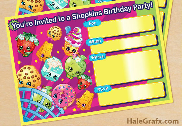 graphic about Shopkins Printable Invitations named Free of charge Shopkins Birthday Occasion Printables Children Occasion Period