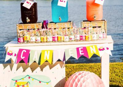 Glamping Girls Birthday Party Drink Table