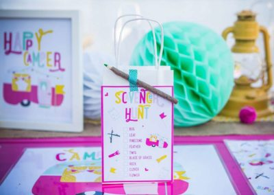 Glamping Girls Birthday Party Scavanger Hunt