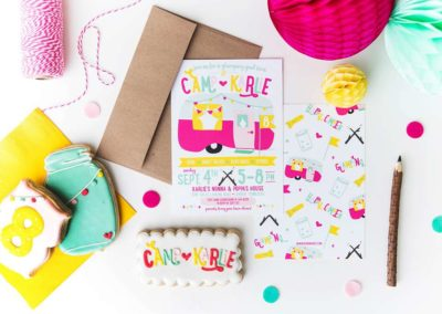 Glamping Girls Birthday Party Invites