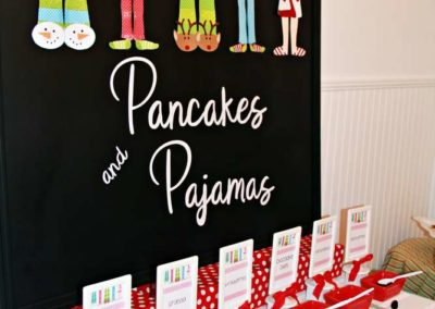 Pancake and Pajamas Party Food Table
