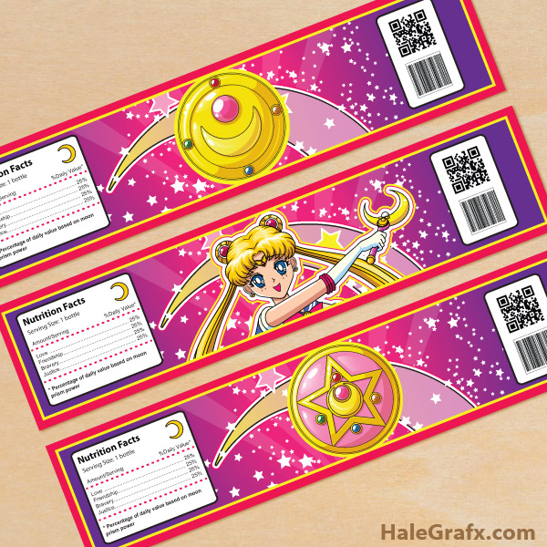 FREE Printable Sailor Moon Water Bottle Labels