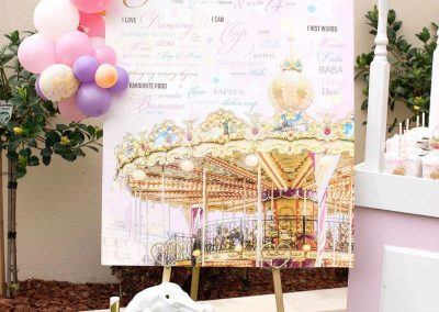 Carousel Birthday Party - milestone board