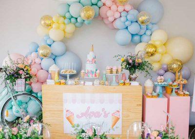 Ice Cream Birthday Party - dessert table