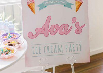 Ice Cream Birthday Party - sign