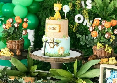 Jungle Birthday Party - Blushing Events - Cake Table