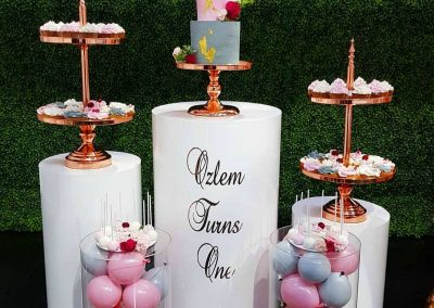 Pink First Birthday Party - Cake Displays